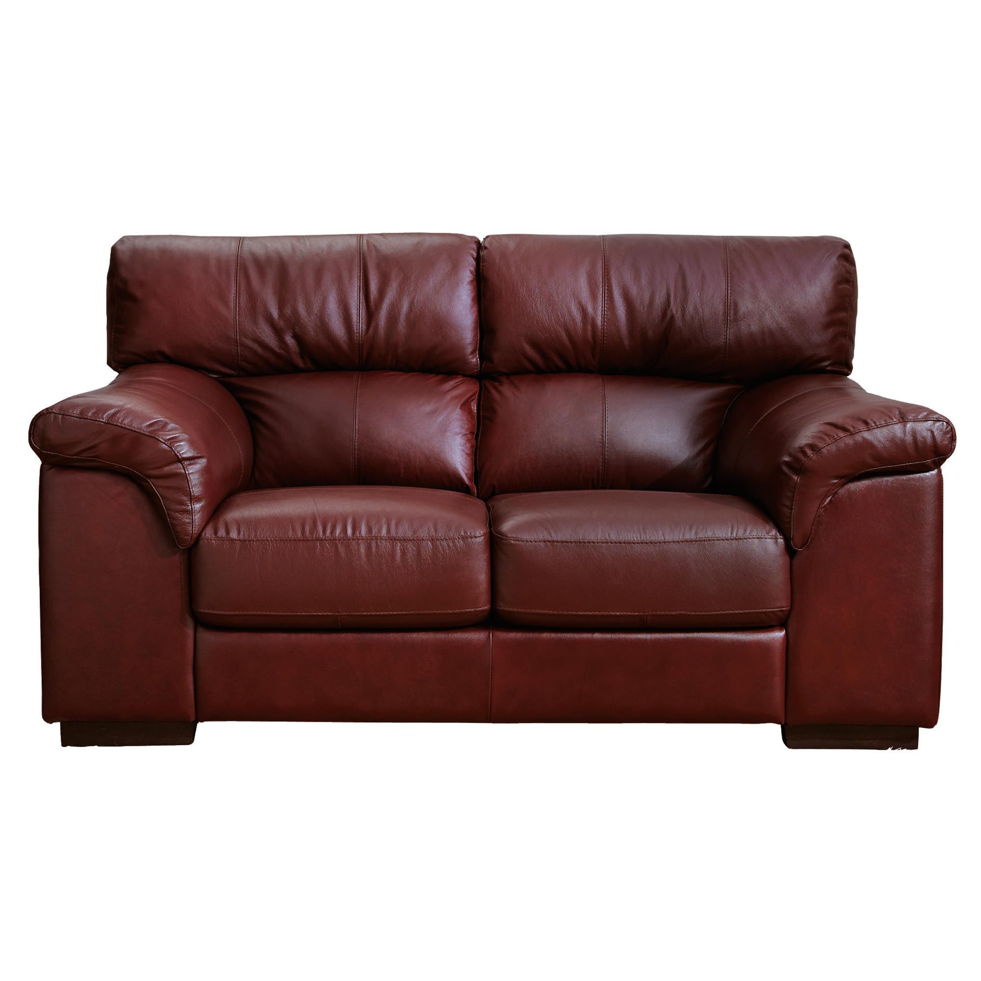 Galileo Small Leather Sofa Chestnut at Tesco Direct