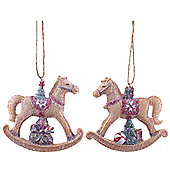 Pair of Hanging Gingerbread Rocking Horse Christmas Tree Decorations