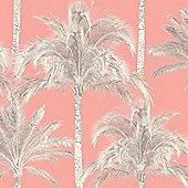 Miami Palm Trees Wallpaper - Coral - FD40905 Fine Decor