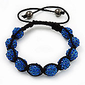 Unisex Shamballa Bracelet Crystal Royal Blue Swarovski Crystal Beads 10mm - Adjustable
