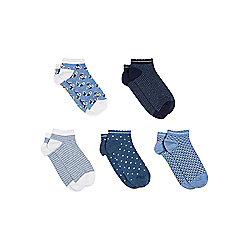 F&F 5 Pair Pack of Floral, Striped and Polka Dot Trainer Liners One Size Blue