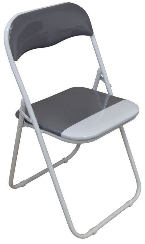 Buy Harbour Housewares Cool Grey White Padded Folding Desk Chair from our