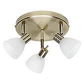 Brilliant Brighton Three Light Ceiling Spotlight - Brass / Alabaster Glass