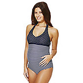 F&F Striped and Polka Dot Print Halterneck Maternity Swimsuit - Multi