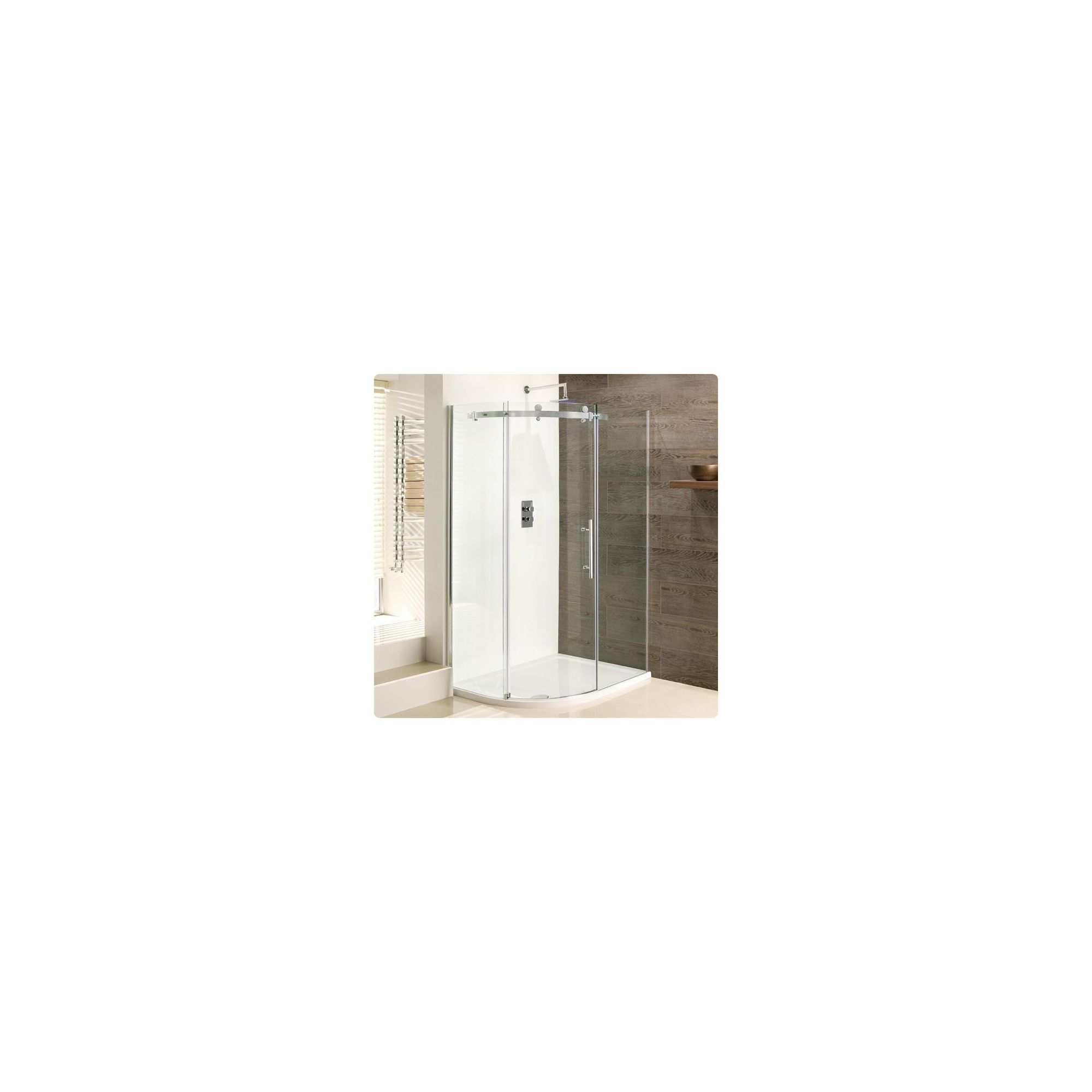 Duchy Deluxe Silver Offset Quadrant Shower Enclosure 1000mm x 800mm (Complete with Tray), 10mm Glass at Tesco Direct