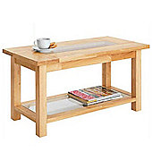 Solid Wood And Glass Rectangular Coffee Table - Natural