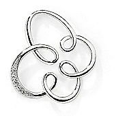 Jewelco London 9ct White Gold - Diamond - Flower Charm Pendant -