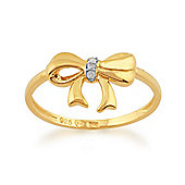 Gemondo Diamond Bow Ring in 9ct Yellow Gold Plated Sterling Silver
