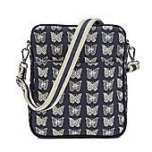 Pink Lining - Out and About Messenger Bag - CREAM BUTTERFLIES ON NAVY