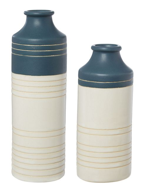 Linea Ceramic Stripe Vase Small In Navy New
