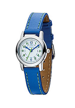 D for Diamond Blue Leather Strap Boys Watch