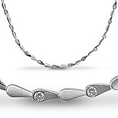 Jewelco London Sterling Silver Cubic Zirconia collarette Tennis Chain - Ladies