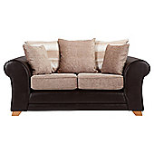 Lima fabric mix small sofa chocolate and mink