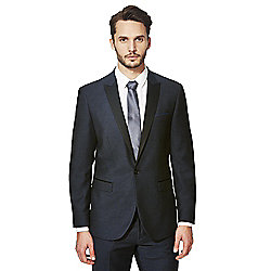 F&F Navy Jacquard Tailored Fit Tuxedo Jacket 44 Chest Regular Length Navy