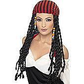 Women's Black Pirate Wig with Bandana