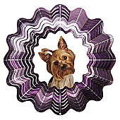 Iron Stop Designer Glitter Yorkshire Terrier Wind Spinner 6.5in Garden Feature