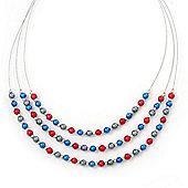 3 Strand, Layered Bead Wire Necklace In Silver Tone (Metallic Grey, Metallic Red, Metallic Blue) - 56cm Length