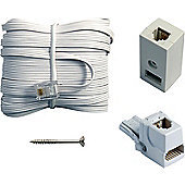 10M Compact Telephone Cable RJ11 Plug BT Extension Kit