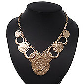 Gold Plated Hammered Circles&Coins Charm Necklace - 38cm Length/ 8cm Extension