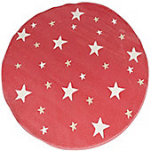 Starry Pink Glow in The Dark, Circular Rug 100 x 100 cm