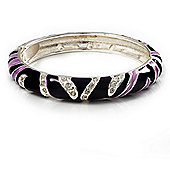 Purple Crystal Enamel Hinged Bangle Bracelet (Silver Tone)