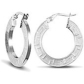 Jewelco London 9ct White Gold Greek Key Flat Hoop Earring