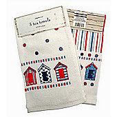 Country Club Nautical Design Velour Tea Towels Set of 3