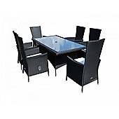 Cambridge 6 Reclining Chairs And Large Rectangular Table Set in Black and Vanilla