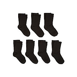 F&F 7 Pair Pack of Antibacterial Technology Ankle Socks shoe Youth 04 - 06 1/2 Black