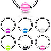 Six Piece Pack Of Surgical Stainless Steel & Acrylic Body Piercing Ball Closure Ring 1.2mm
