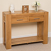 Kuba Chunky Solid Oak 2 Drawer Console Table