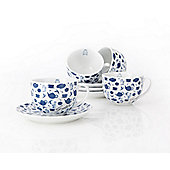 Ethos Tetley Tea Folk Set of Four Cups and Saucers (Set of 4)