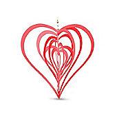 Red Heart Shaped Steel Windspinner For The Garden