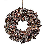 Decorative Frosted Glitter Pine Cone Christmas Wreath