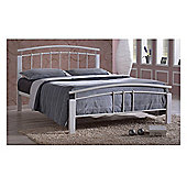 """White Metal & White Beech Bed Frame - Double 4ft 6"""""""