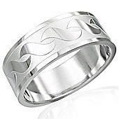 Urban Male Wave Design Men's Ring In Stainless Steel 8mm Wide Band