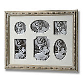 6 Aperture Wall Photo Frame - Cream / Brown