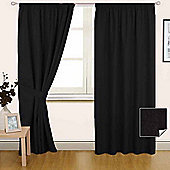 Homescapes Black Pencil Pleat Blackout Curtain Pair, 90 x 90""