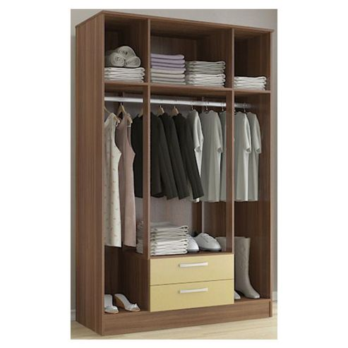 Birlea Lynx 4 Door 2 Drawer Wardrobe with Mirror - Walnut and Cream