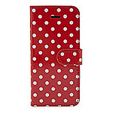 "Tortoiseâ""¢ Faux Leather Folio Case, iPhone 5/5S. Polka Dot design, Red with White Spots."