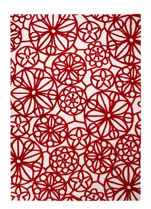 Esprit Society White / Red Contemporary Rectangular Rug