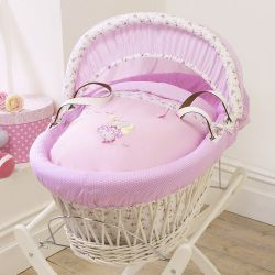Izziwotnot Humphreys Lottie Fairy Princess White Wicker Moses Basket