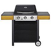 Tesco 3-burner Gas BBQ with Wooden Side Shelf
