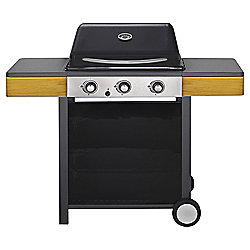 Tesco 3-burner Gas BBQ with Wooden Side Shelf
