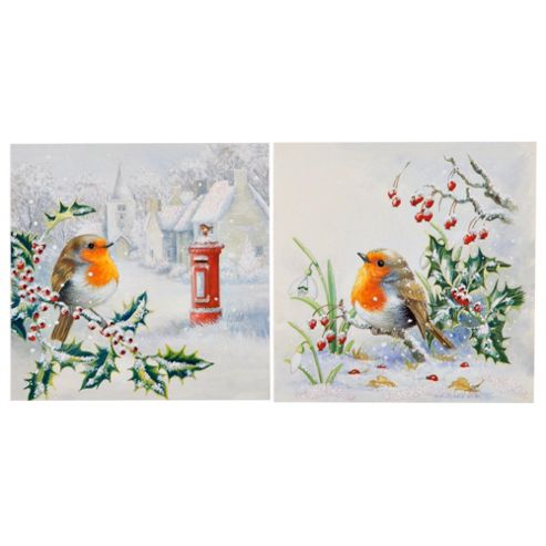 Tesco Robin In Snow Christmas Cards, 12 Pack