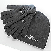Precision Running Black or High Viz Training Beanie & Gloves Set - Black