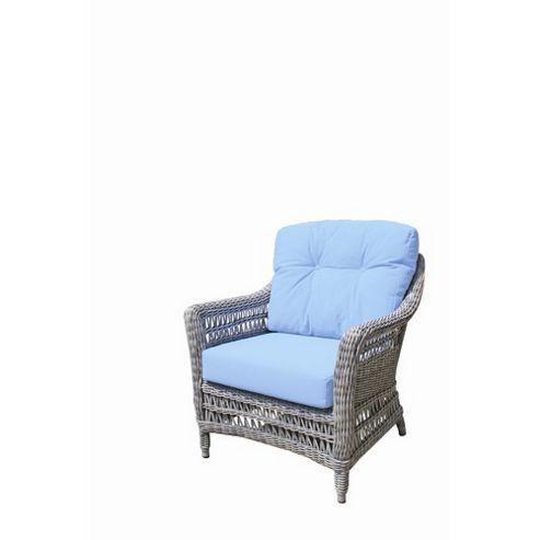 Bridgman Paddock Lounge Armchair in Beige/Sky Blue