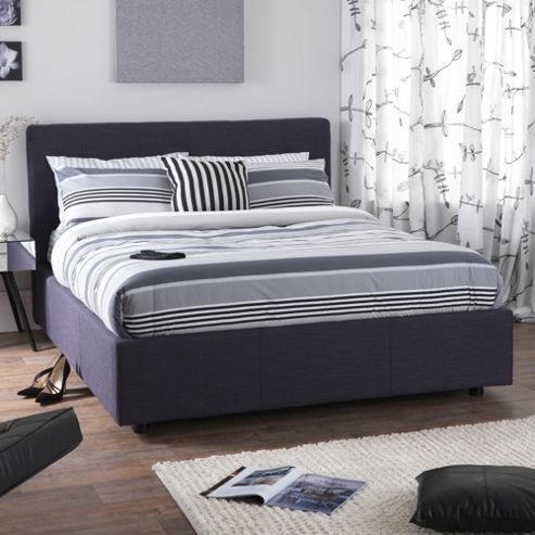 Serene Furnishings Lucca Ottoman Bed Frame - Oxford Blue - Double (4' 6