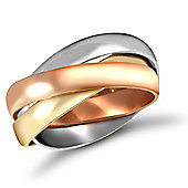 9ct Yellow,white & rose Gold hand assembled 3mm Russian Wedding Ring