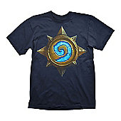 Hearthstone Heroes Of Warcraft Men's Rose Logo T-shirt, Large, Dark Blue - Gaming T-Shirts